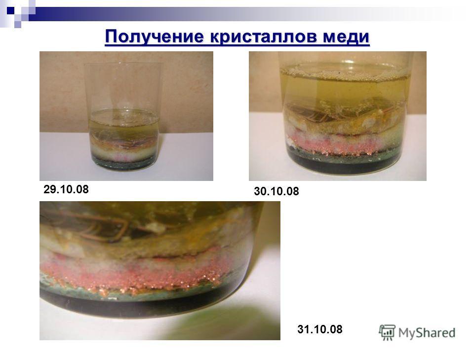 Получение кристаллов меди 29.10.08 30.10.08 31.10.08