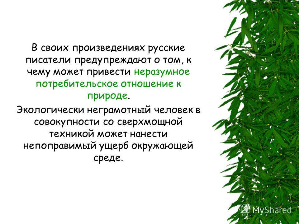 В своих произведениях русские писатели предупреждают о том, к чему может привести неразумное потребительское отношение к природе. Экологически неграмотный человек в совокупности со сверхмощной техникой может нанести непоправимый ущерб окружающей сред