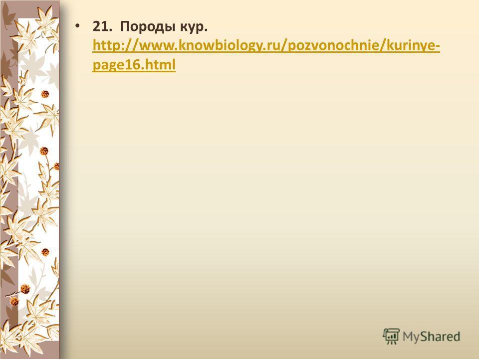 21. Породы кур. http://www.knowbiology.ru/pozvonochnie/kurinye- page16.html http://www.knowbiology.ru/pozvonochnie/kurinye- page16.html