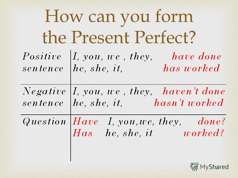 3 How can you form the Present Perfect?