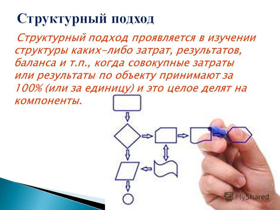 Структурный подход проявляется в изучении структуры каких-либо затрат, результатов, баланса и т.п., когда совокупные затраты или результаты по объекту принимают за 100% (или за единицу) и это целое делят на компоненты.