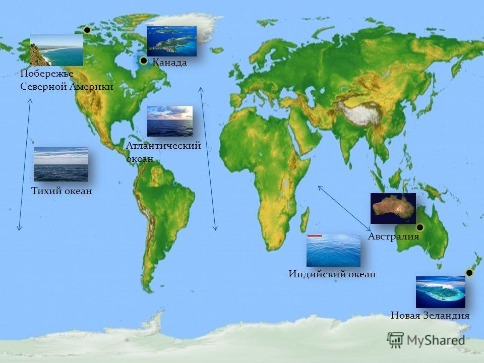 Канада Австралия Новая Зеландия Побережье Северной Америки Тихий океан Атлантический океан Индийский океан