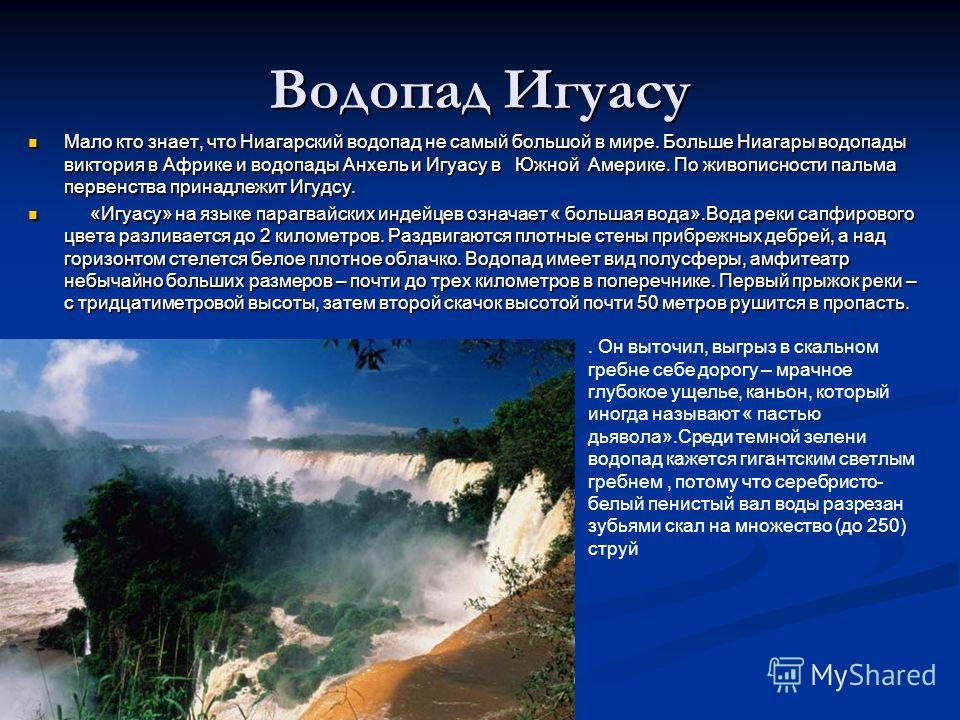 Водопад Игуасу Мало кто знает, что Ниагарский водопад не самый большой в мире. Больше Ниагары водопады виктория в Африке и водопады Анхель и Игуасу в Южной Америке. По живописности пальма первенства принадлежит Игудсу. Мало кто знает, что Ниагарский