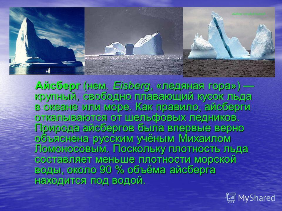 Цели презентации: узнать что такое айсберг, его размеры и типы.
