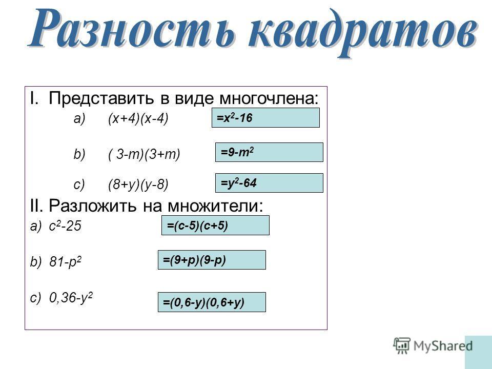 I.Представить в виде многочлена: a)(x+4)(x-4) b)( 3-m)(3+m) c)(8+y)(y-8) II.Разложить на множители: a)с 2 -25 b)81-p 2 c)0,36-y 2 =x 2 -16 =9-m 2 =y 2 -64 =(с-5)(с+5) =(9+p)(9-p) =(0,6-y)(0,6+y)