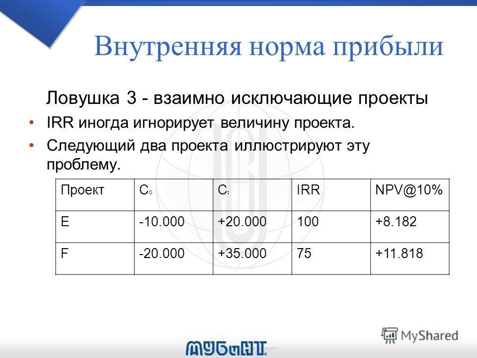 Внутренняя норма прибыли Ловушка 3 - взаимно исключающие проекты IRR иногда игнорирует величину проекта. Следующий два проекта иллюстрируют эту проблему. ПроектC0C0 CtCt IRRNPV@10% E-10.000+20.000100+8.182 F-20.000+35.00075+11.818