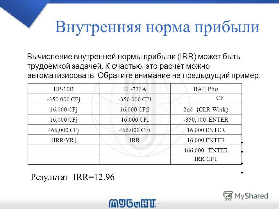 Внутренняя норма прибыли Вычисление внутренней нормы прибыли (IRR) может быть трудоёмкой задачей. К счастью, это расчёт можно автоматизировать. Обратите внимание на предыдущий пример. HP-10BEL-733ABAII Plus -350,000 CFj-350,000 CFi CF 16,000 CFj16,00