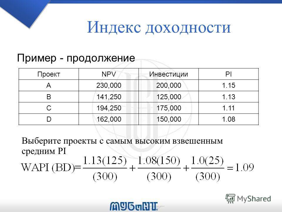Индекс доходности Пример - продолжение ПроектNPVИнвестицииPI A230,000200,0001.15 B141,250125,0001.13 C194,250175,0001.11 D162,000150,0001.08 Выберите проекты с самым высоким взвешенным средним PI