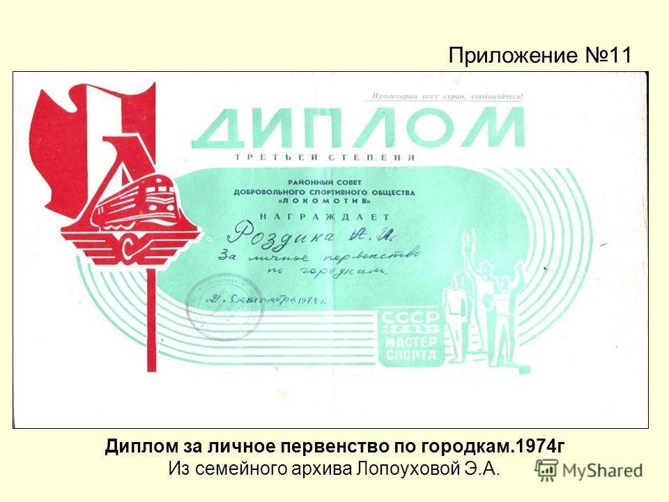 Приложение 11 Диплом за личное первенство по городкам.1974г Из семейного архива Лопоуховой Э.А.