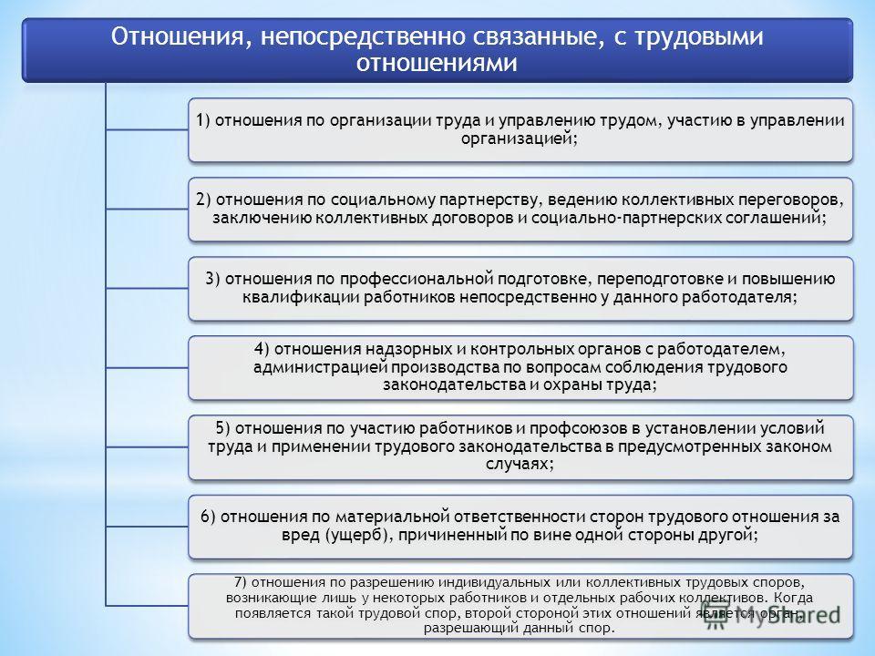 Отношения, непосредственно связанные, с трудовыми отношениями 1) отношения по организации труда и управлению трудом, участию в управлении организацией; 2) отношения по социальному партнерству, ведению коллективных переговоров, заключению коллективных