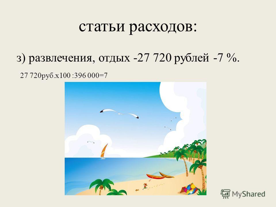 статьи расходов: з) развлечения, отдых -27 720 рублей -7 %. 27 720руб.х100 :396 000=7