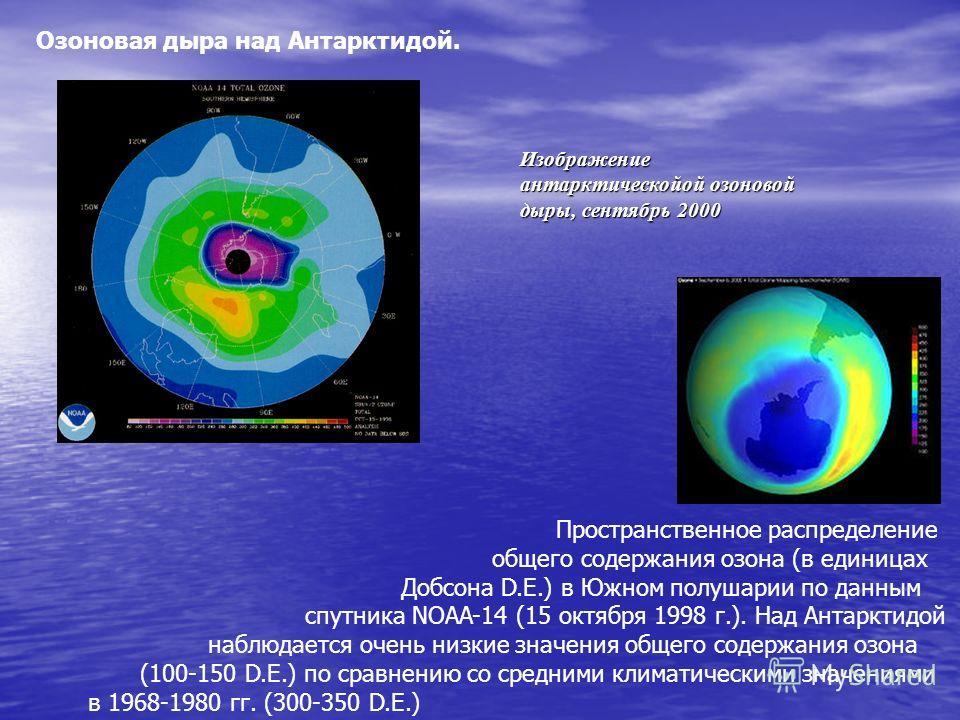 Озоновая дыра над Антарктидой. Пространственное распределение общего содержания озона (в единицах Добсона D.E.) в Южном полушарии по данным спутника NOAA-14 (15 октября 1998 г.). Над Антарктидой наблюдается очень низкие значения общего содержания озо