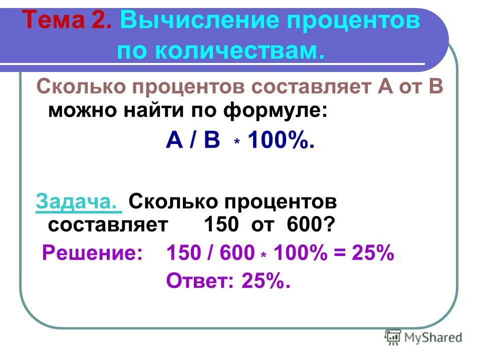Тема 2. Вычисление процентов по количествам. Сколько процентов составляет А от В можно найти по формуле: А / В * 100%. Задача. Сколько процентов составляет 150 от 600? Решение: 150 / 600 * 100% = 25% Ответ: 25%.