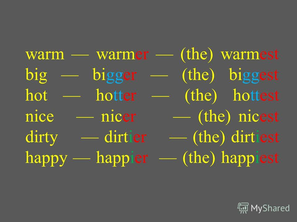 warm warmer (the) warmest big bigger (the) biggest hot hotter (the) hottest nice nicer (the) nicest dirty dirtier (the) dirtiest happy happier (the) happiest