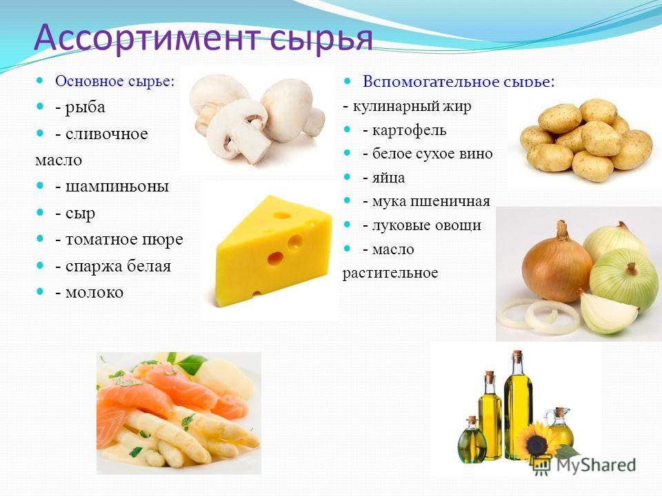 Ассортимент сырья Основное сырье : - рыба - сливочное масло - шампиньоны - сыр - томатное пюре - спаржа белая - молоко Вспомогательное сырье: - кулинарный жир - картофель - белое сухое вино - яйца - мука пшеничная - луковые овощи - масло растительное
