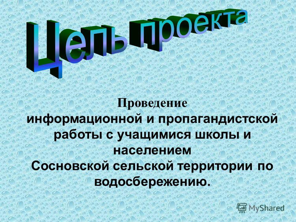 Проведение информационной и пропагандистской работы с учащимися школы и населением Сосновской сельской территории по водосбережению.