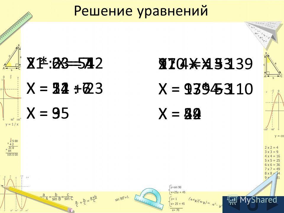 Решение уравнений 110 + X = 139 X = 139 – 110 X = 29 X – 23 = 12 X = 12 + 23 X = 35 X : 4 = 13 X = 13*4 X = 52 X * 6 = 54 X = 54 : 6 X = 9 97 - X = 53 X = 97 - 53 X = 44 21 : X = 7 X = 21 : 7 X = 3