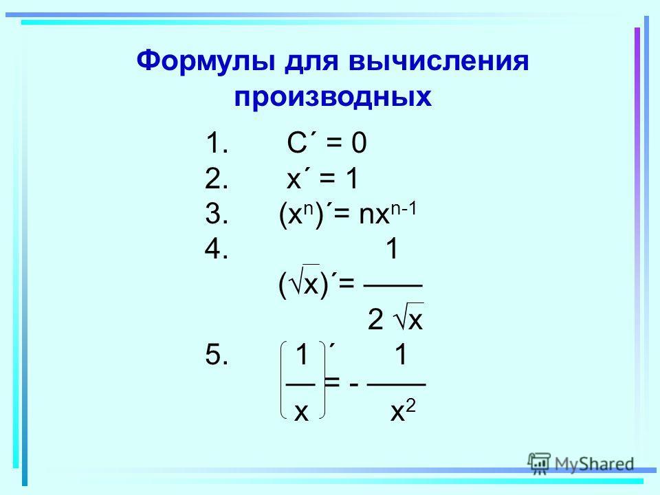 Формулы для вычисления производных 1. C´ = 0 2. x´ = 1 3. (x n )´= nx n-1 4. 1 ( x)´= 2 x 5. 1 ´ 1 = - x x 2