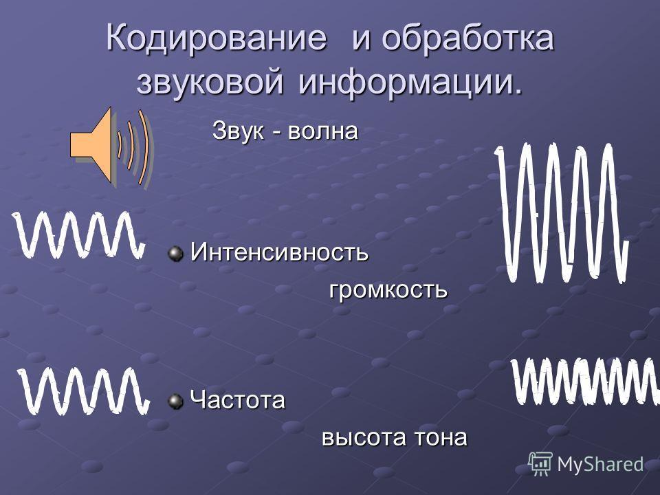 Кодирование и обработка звуковой информации. Звук - волна Интенсивность громкость громкостьЧастота высота тона высота тона