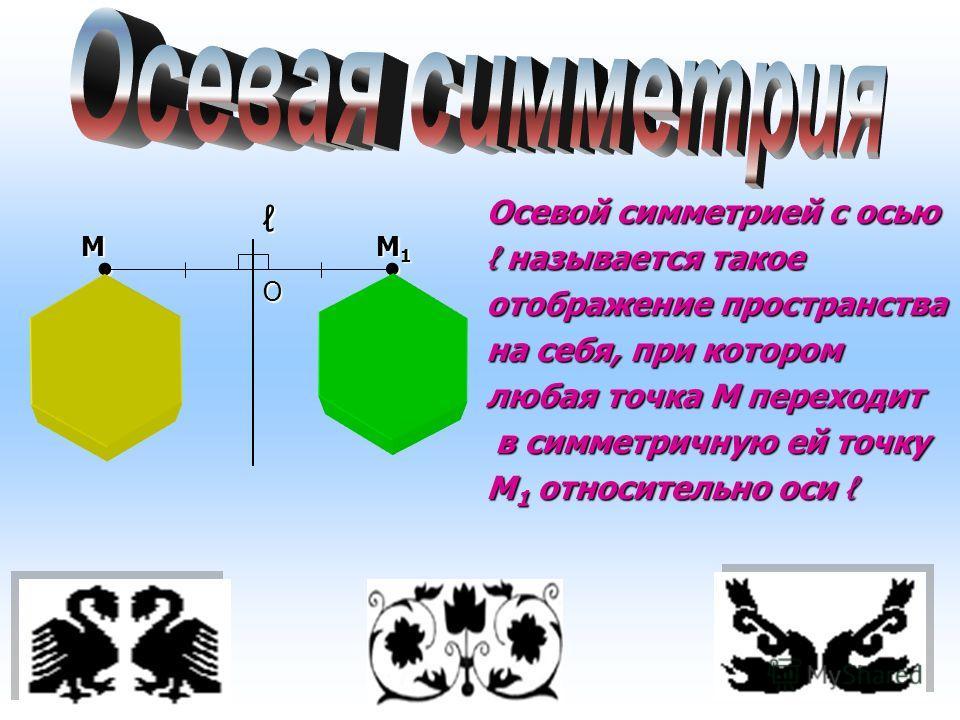 Осевой симметрией с осью называется такое называется такое отображение пространства на себя, при котором любая точка М переходит в симметричную ей точку в симметричную ей точку М 1 относительно оси М 1 относительно оси М М1М1М1М1 О