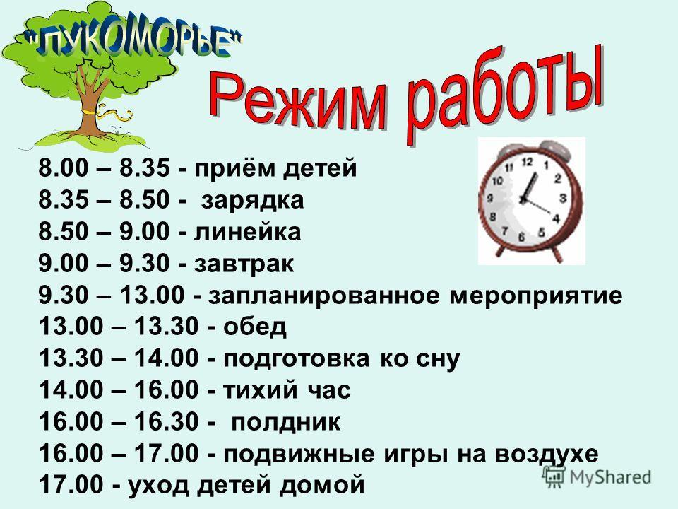 8.00 – 8.35 - приём детей 8.35 – 8.50 - зарядка 8.50 – 9.00 - линейка 9.00 – 9.30 - завтрак 9.30 – 13.00 - запланированное мероприятие 13.00 – 13.30 - обед 13.30 – 14.00 - подготовка ко сну 14.00 – 16.00 - тихий час 16.00 – 16.30 - полдник 16.00 – 17