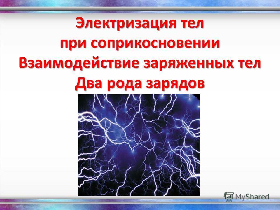 Электризация тел при соприкосновении Взаимодействие заряженных тел Два рода зарядов