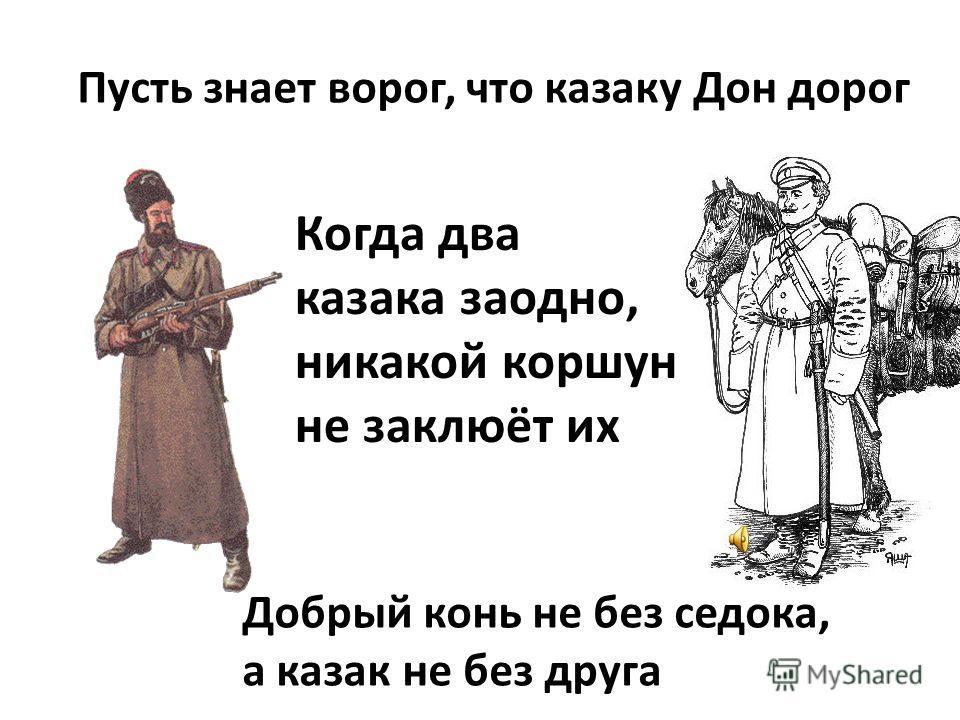 Пусть знает ворог, что казаку Дон дорог Когда два казака заодно, никакой коршун не заклюёт их Добрый конь не без седока, а казак не без друга