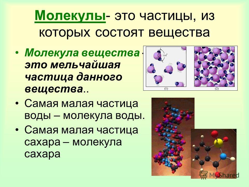 Молекулы- это частицы, из которых состоят вещества Молекула вещества – это мельчайшая частица данного вещества.. Самая малая частица воды – молекула воды. Самая малая частица сахара – молекула сахара