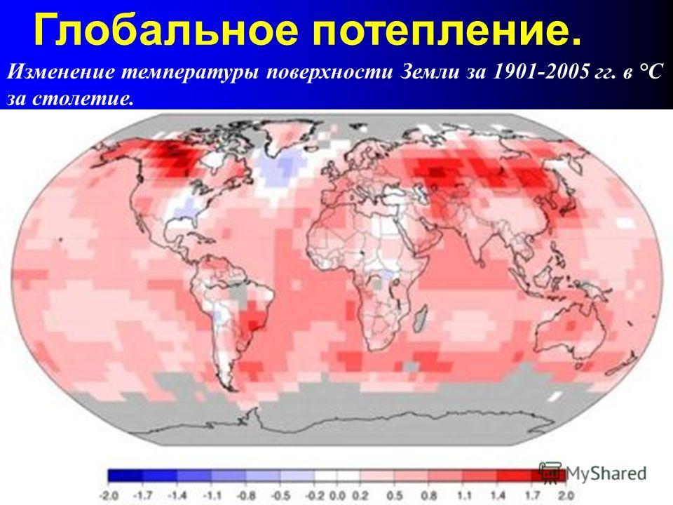 Изменение температуры поверхности Земли за 1901-2005 гг. в °С за cтолетие. Глобальное потепление.