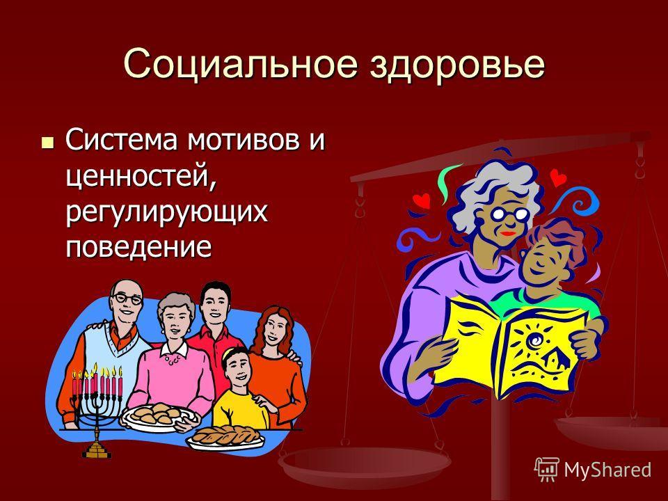 Социальное здоровье Система мотивов и ценностей, регулирующих поведение Система мотивов и ценностей, регулирующих поведение