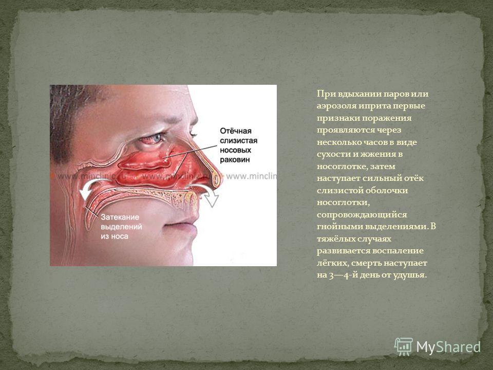 При вдыхании паров или аэрозоля иприта первые признаки поражения проявляются через несколько часов в виде сухости и жжения в носоглотке, затем наступает сильный отёк слизистой оболочки носоглотки, сопровождающийся гнойными выделениями. В тяжёлых случ