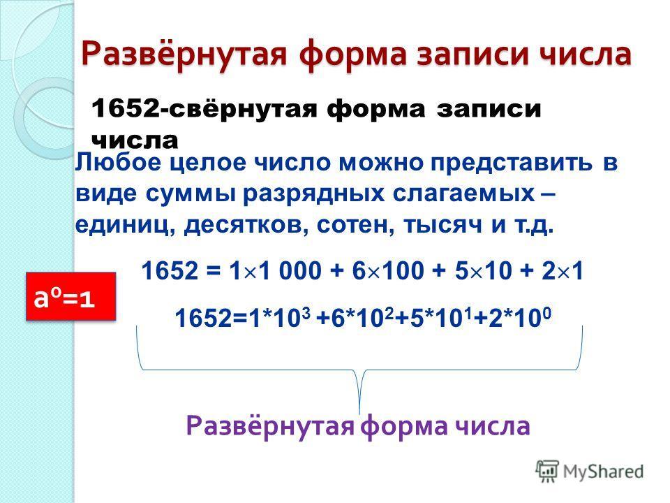 Любое целое число можно представить в виде суммы разрядных слагаемых – единиц, десятков, сотен, тысяч и т.д. 1652 = 1 1 000 + 6 100 + 5 10 + 2 1 1652=1*10 3 +6*10 2 +5*10 1 +2*10 0 Развёрнутая форма записи числа 1652-свёрнутая форма записи числа Разв