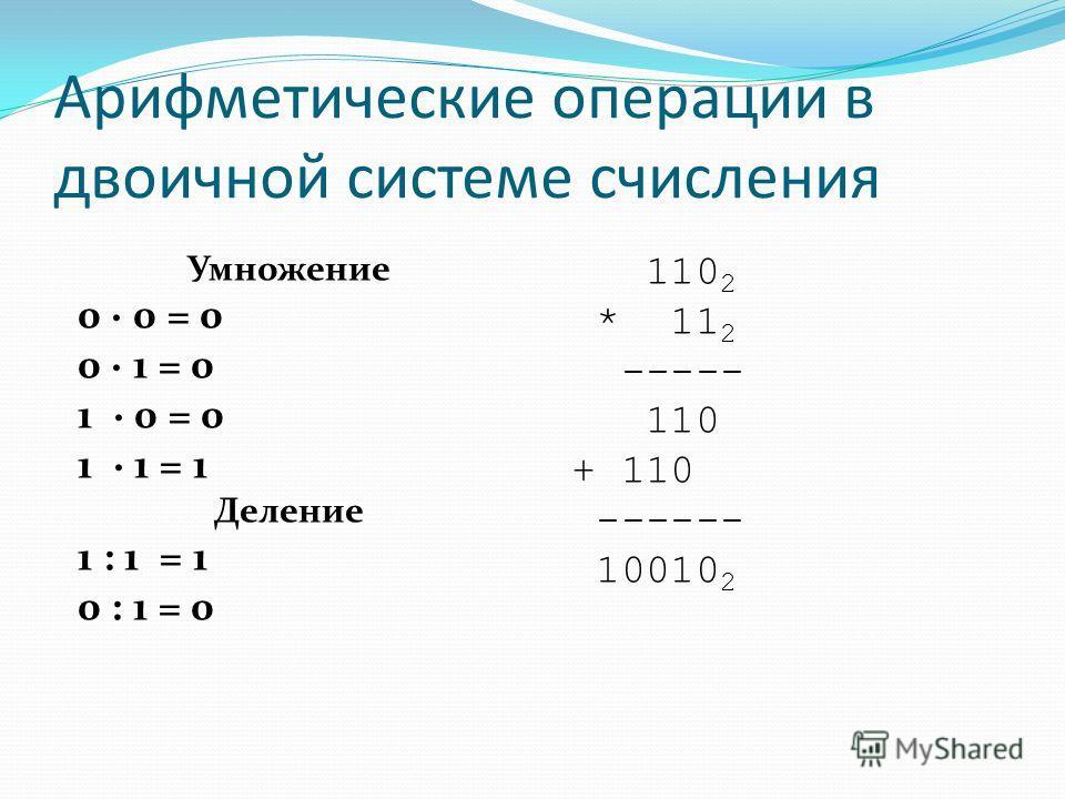 Правила двоичной арифметики 4 деление операция деления выполняется по алгоритму