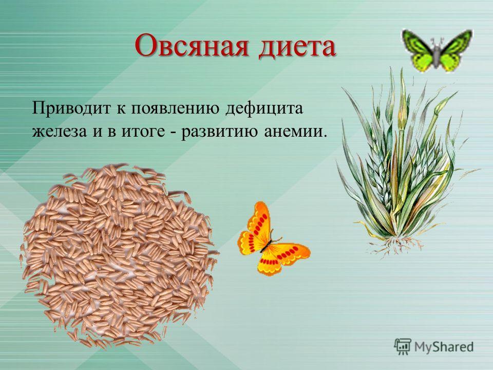 Овсяная диета Приводит к появлению дефицита железа и в итоге - развитию анемии.