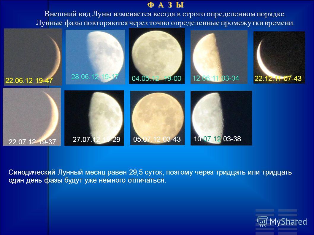 Ф А З Ы Ф А З Ы Внешний вид Луны изменяется всегда в строго определенном порядке. Лунные фазы повторяются через точно определенные промежутки времени. 04.05.12 19-00 12.06.11 03-34 22.12.11 07-43 22.06.12 19-47 28.06.12 19-17 22.07.12 19-37 27.07.12