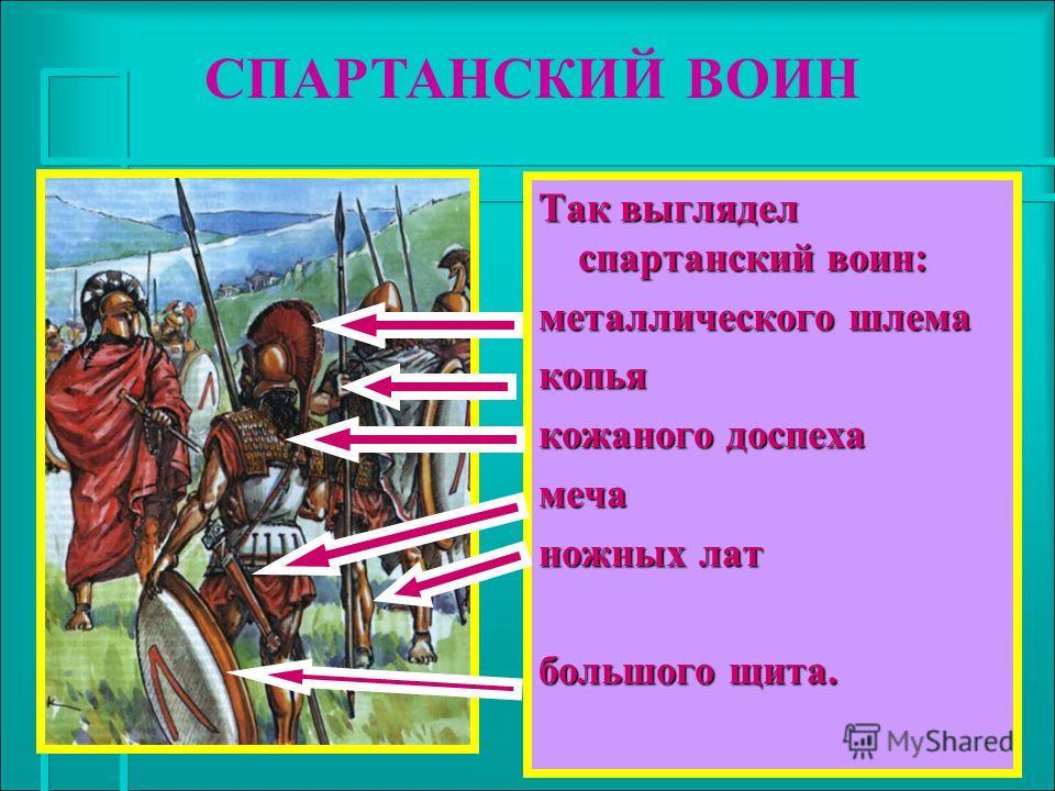 Так выглядел спартанский воин: металлического шлема копья кожаного доспеха меча ножных лат большого щита. СПАРТАНСКИЙ ВОИН
