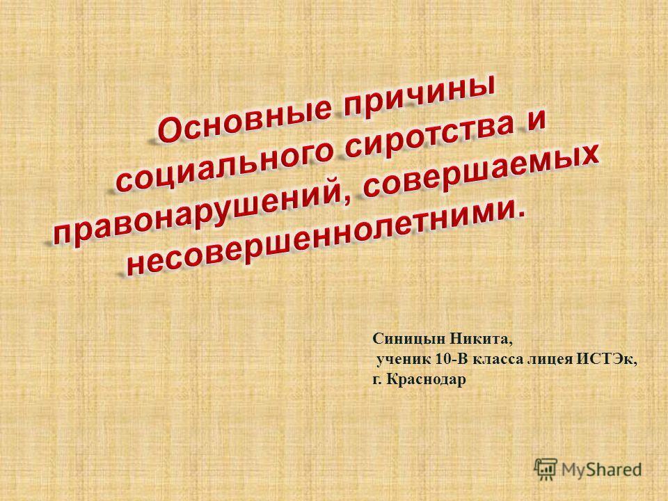 Синицын Никита, ученик 10-В класса лицея ИСТЭк, г. Краснодар