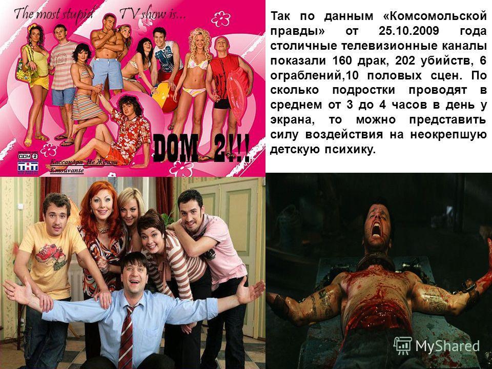 Так по данным «Комсомольской правды» от 25.10.2009 года столичные телевизионные каналы показали 160 драк, 202 убийств, 6 ограблений,10 половых сцен. По сколько подростки проводят в среднем от 3 до 4 часов в день у экрана, то можно представить силу во