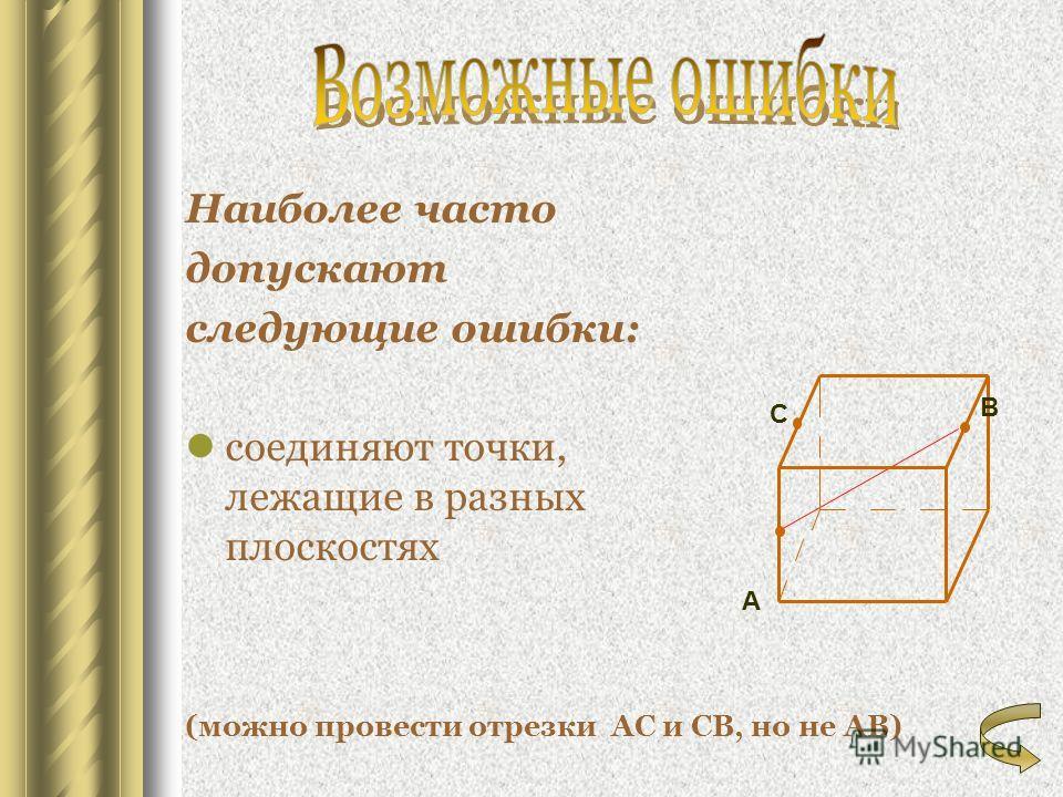 Наиболее часто допускают следующие ошибки: соединяют точки, лежащие в разных плоскостях (можно провести отрезки АС и СВ, но не АВ) А В С