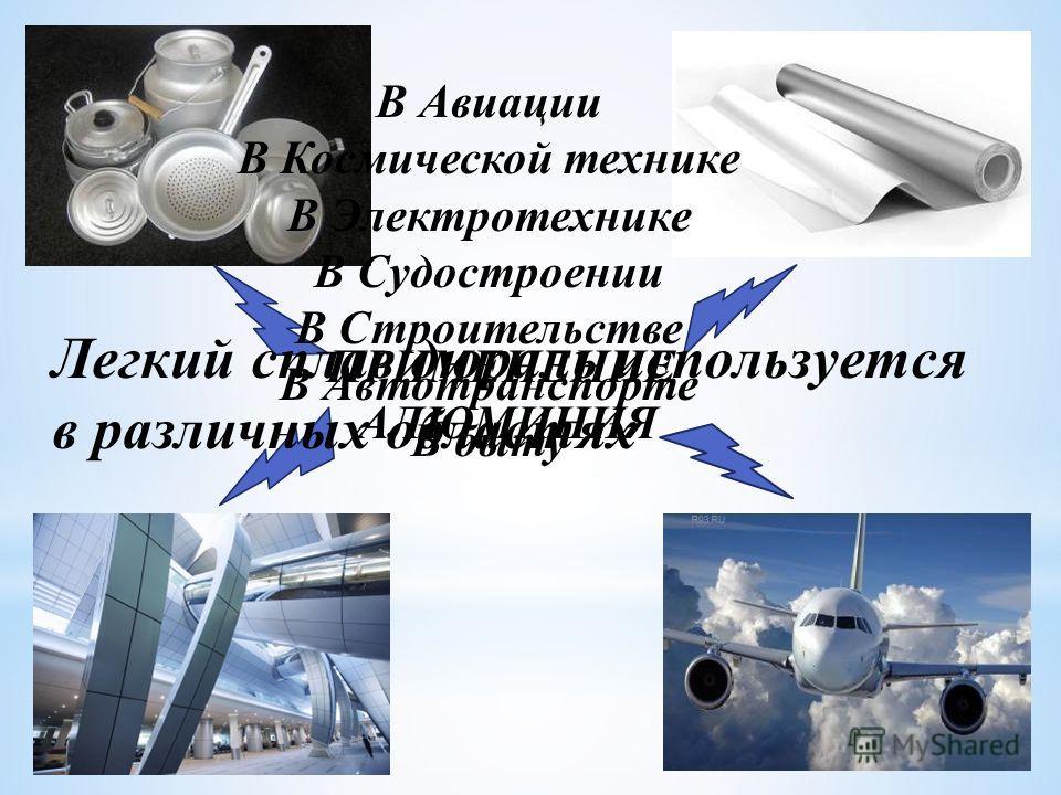 ПРИМЕНЕНИЕ АЛЮМИНИЯ Легкий сплав дюраль используется в различных областях В Авиации В Космической технике В Электротехнике В Судостроении В Строительстве В Автотранспорте В быту