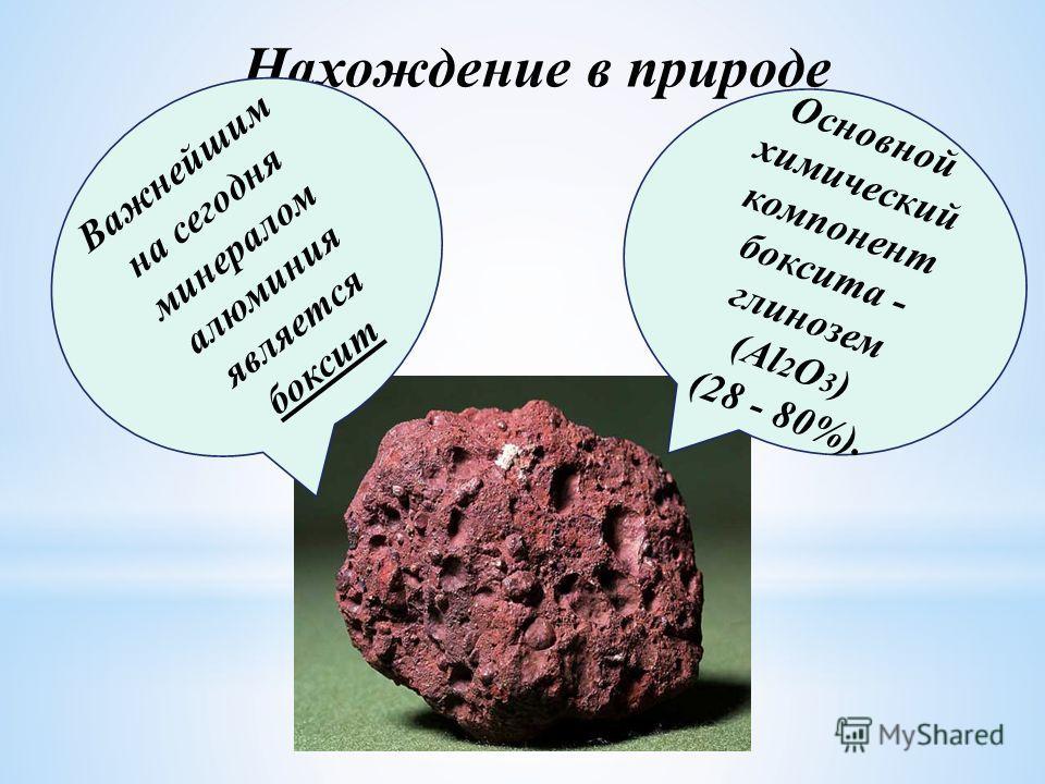 Нахождение в природе Важнейшим на сегодня минералом алюминия является боксит Основной химический компонент боксита - глинозем (Al 2 O 3 ) (28 - 80%).
