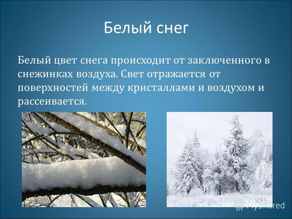 Белый снег Белый цвет снега происходит от заключенного в снежинках воздуха. Свет отражается от поверхностей между кристаллами и воздухом и рассеивается.