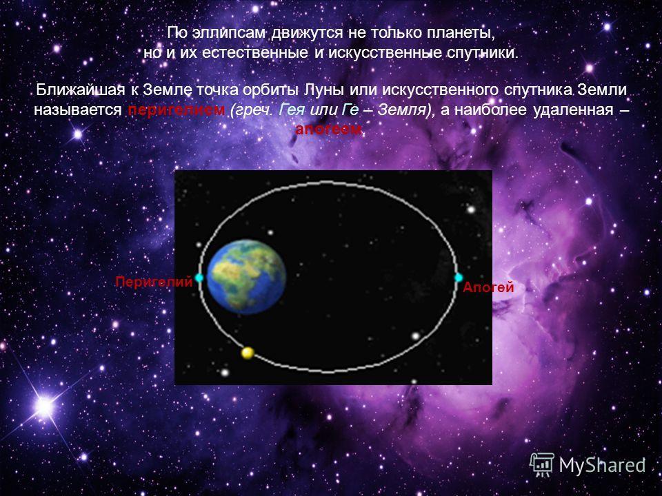 По эллипсам движутся не только планеты, но и их естественные и искусственные спутники. Ближайшая к Земле точка орбиты Луны или искусственного спутника Земли называется перигелием (греч. Гея или Ге – Земля), а наиболее удаленная – апогеем. Перигелий А