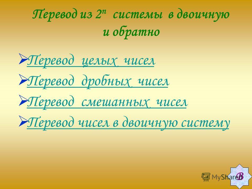 Перевод из 2 n системы в двоичную и обратно Перевод целых чисел Перевод дробных чисел Перевод смешанных чисел Перевод чисел в двоичную систему В