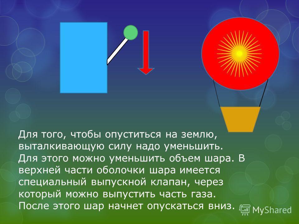 Для того, чтобы опуститься на землю, выталкивающую силу надо уменьшить. Для этого можно уменьшить объем шара. В верхней части оболочки шара имеется специальный выпускной клапан, через который можно выпустить часть газа. После этого шар начнет опускат