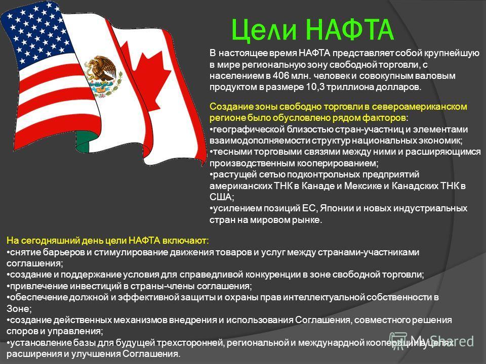 Цели НАФТА В настоящее время НАФТА представляет собой крупнейшую в мире региональную зону свободной торговли, с населением в 406 млн. человек и совокупным валовым продуктом в размере 10,3 триллиона долларов. Создание зоны свободно торговли в североам