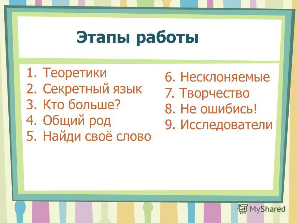 Этапы работы 1.Теоретики 2.Секретный язык 3.Кто больше? 4.Общий род 5.Найди своё слово 6. Несклоняемые 7. Творчество 8. Не ошибись! 9. Исследователи