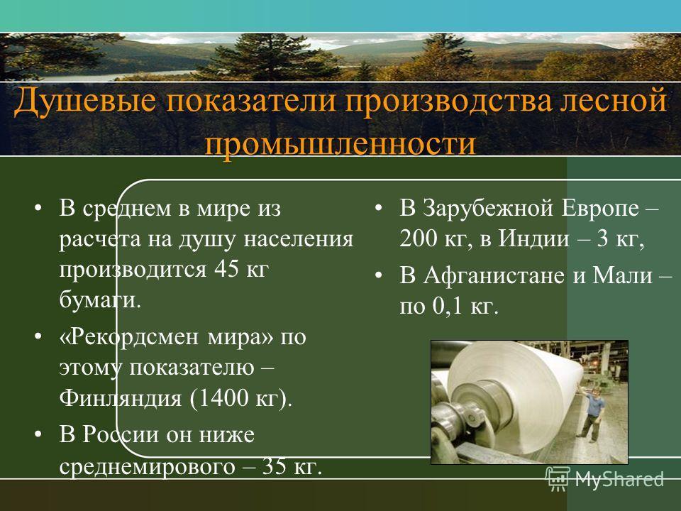 Душевые показатели производства лесной промышленности В среднем в мире из расчета на душу населения производится 45 кг бумаги. «Рекордсмен мира» по этому показателю – Финляндия (1400 кг). В России он ниже среднемирового – 35 кг. В Зарубежной Европе –