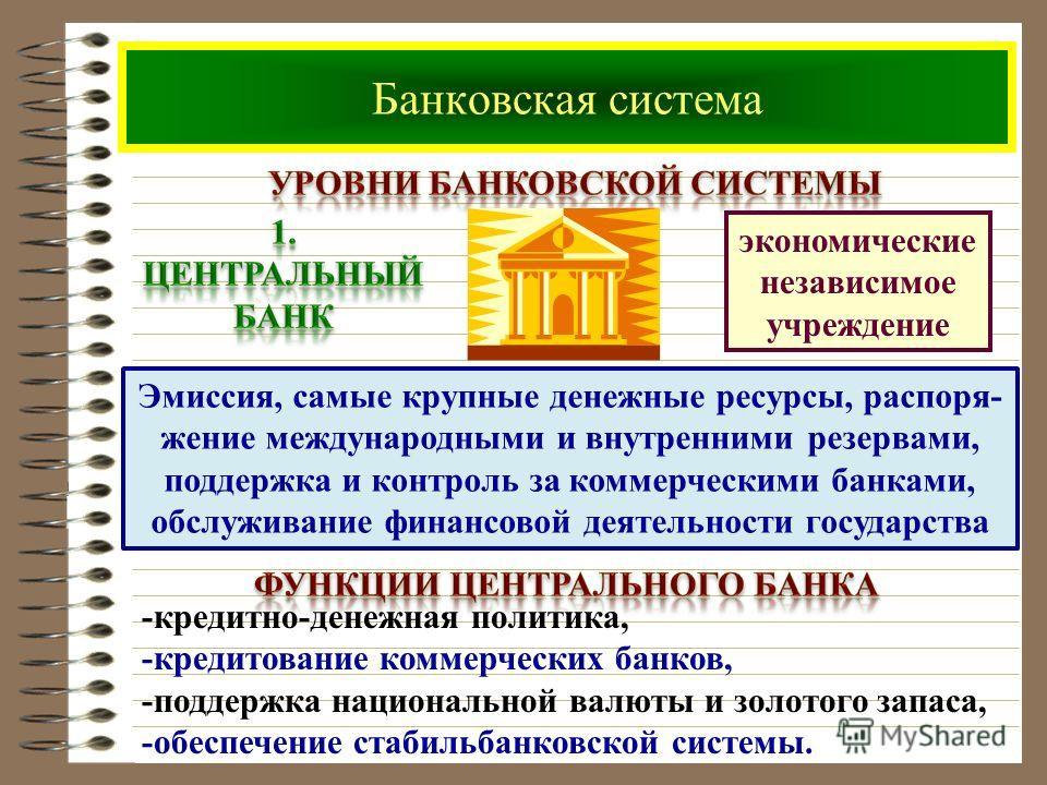 Банковская система экономические независимое учреждение Эмиссия, самые крупные денежные ресурсы, распоря- жение международными и внутренними резервами, поддержка и контроль за коммерческими банками, обслуживание финансовой деятельности государства -к