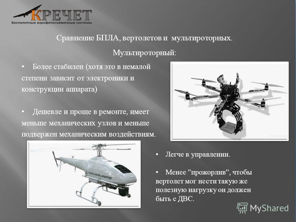 Сравнение БПЛА, вертолетов и мультироторных. Мультироторный: Более стабилен (хотя это в немалой степени зависит от электроники и конструкции аппарата) Дешевле и проще в ремонте, имеет меньше механических узлов и меньше подвержен механическим воздейст
